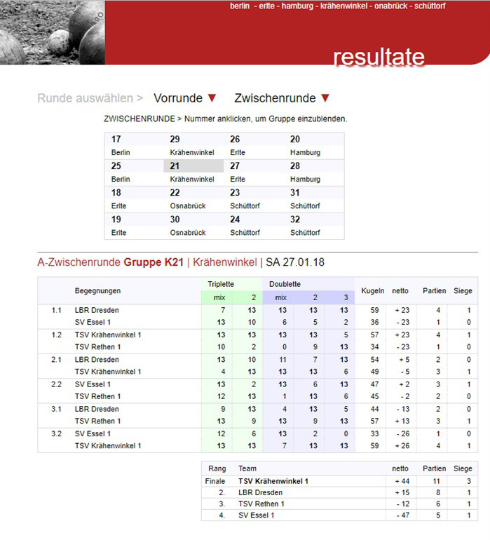 TSV KK Pétanque Zwischenrunde TSV KK 1